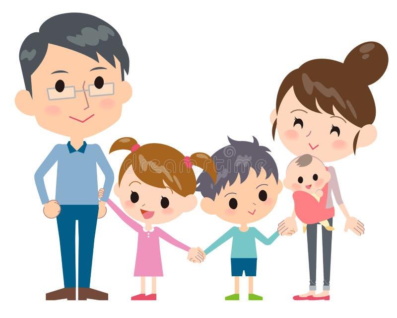 Generaciones de la familia 2 de lado a lado ilustración del vector