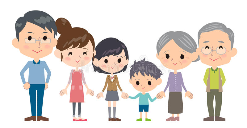 Generaciones de la familia tres de lado a lado ilustración del vector