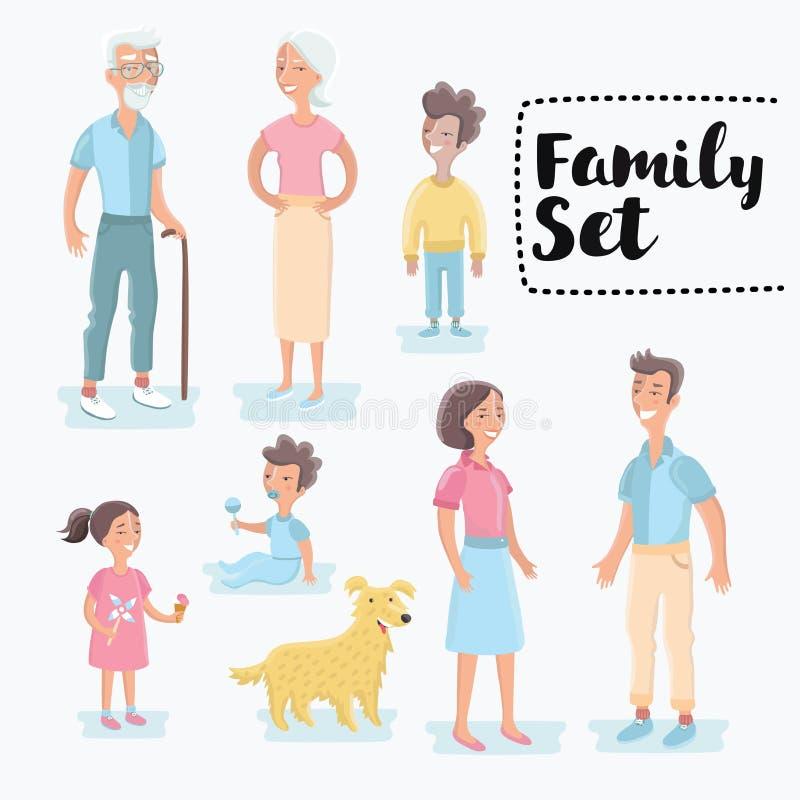 Generaciones de la gente en diversas edades Envejecimiento del hombre y de la mujer - bebé, niño, joven, adulto, personas mayores stock de ilustración