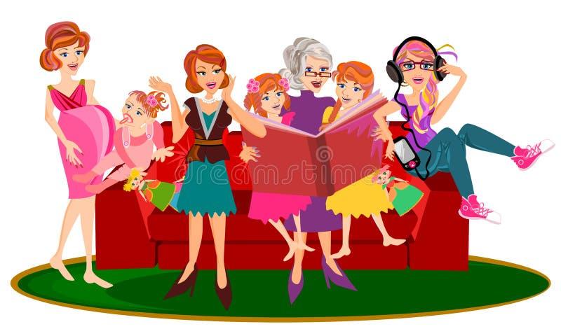 Generaciones de la mujer stock de ilustración