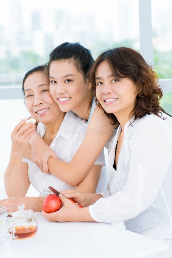 Generaciones de una familia asiática imagen de archivo