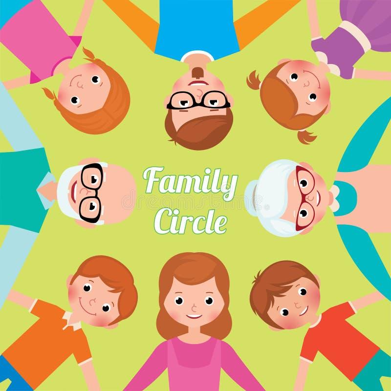 Generaciones del círculo familiar tres de adultos y de niños todo el toget stock de ilustración