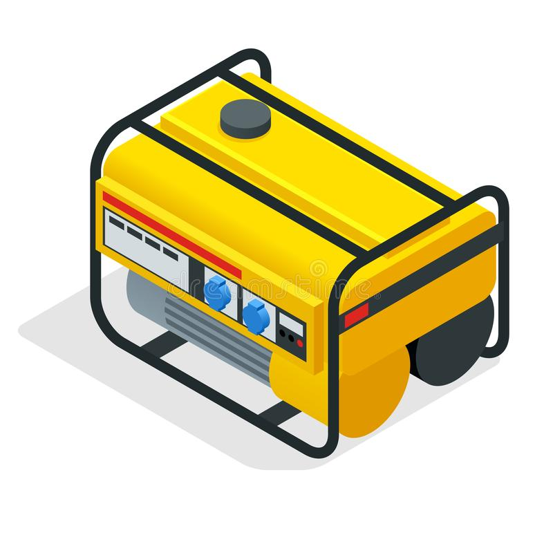 Generador amarillo isométrico de la gasolina generador de poder inmueble industrial y casero Generador eléctrico diesel en al air libre illustration