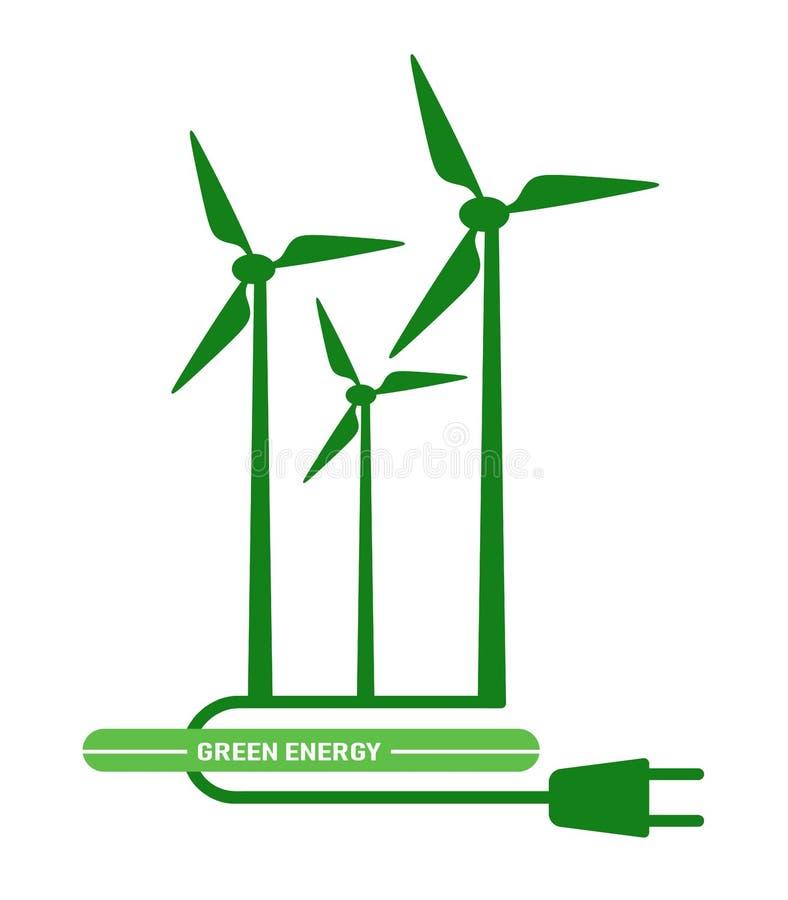 Generador de turbina el?ctrico del viento del s?mbolo Muestra verde de la energ?a Ilustraci?n del vector ilustración del vector