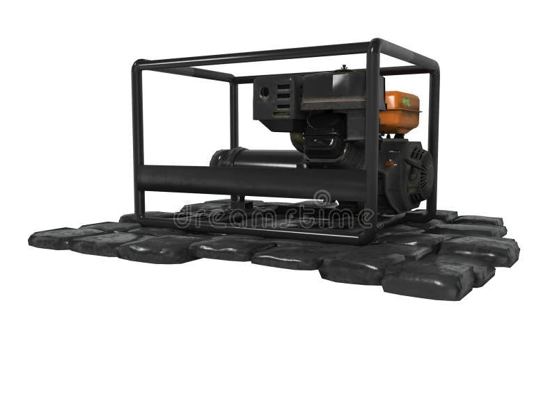 Generador diesel negro en las piedras 3d no rendir en el fondo blanco ninguna sombra stock de ilustración