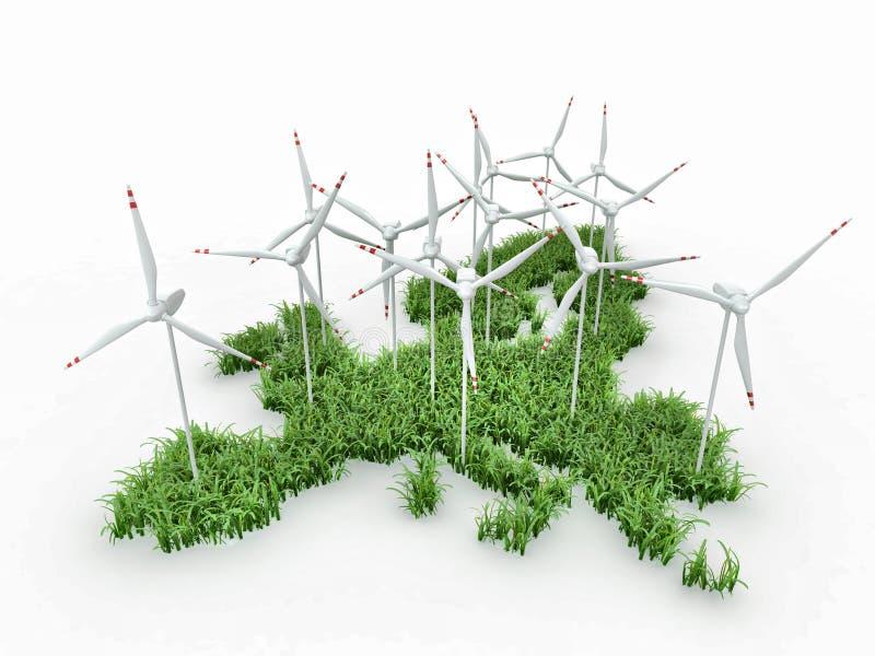 Generadores de la energía eólica en la correspondencia de Europa ilustración del vector