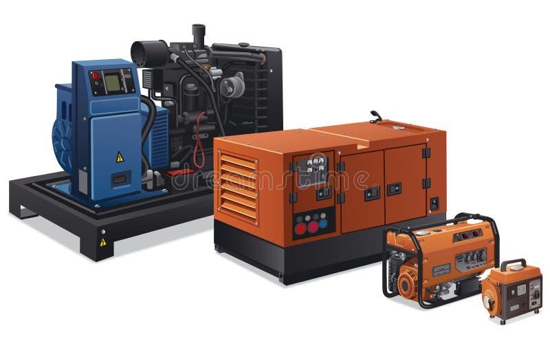 Generadores de poder industriales ilustración del vector