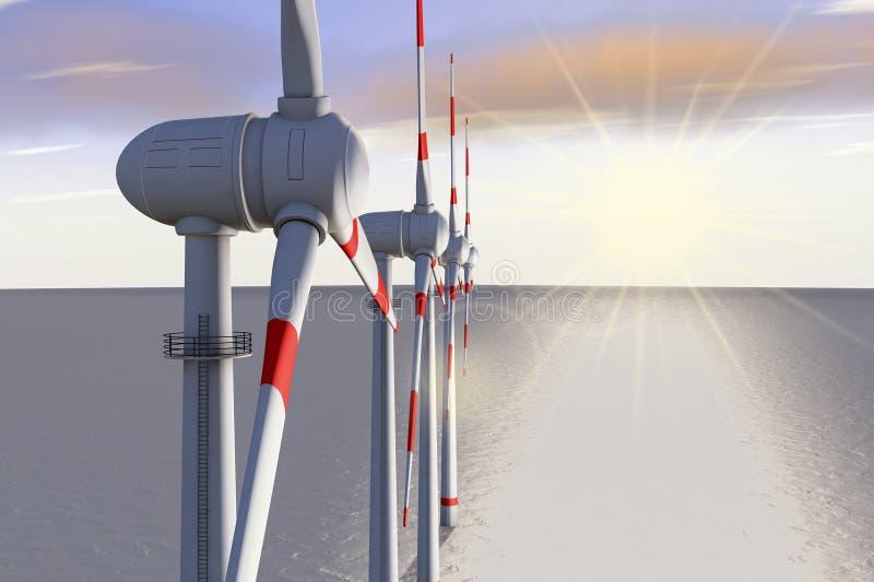 Generadores de viento ilustración del vector