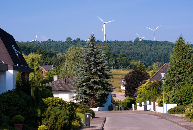 Generadores del molino de viento en Alemania foto de archivo libre de regalías