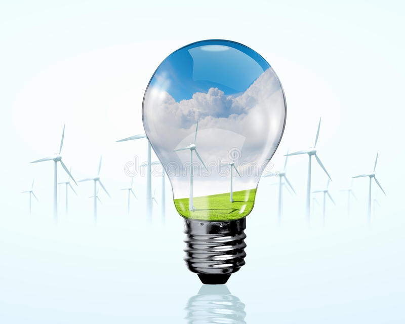 Generadores eléctricos del bulbo y del molino de viento foto de archivo