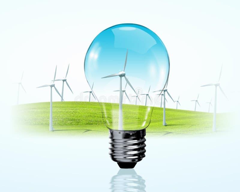 Generadores eléctricos del bulbo y del molino de viento foto de archivo libre de regalías