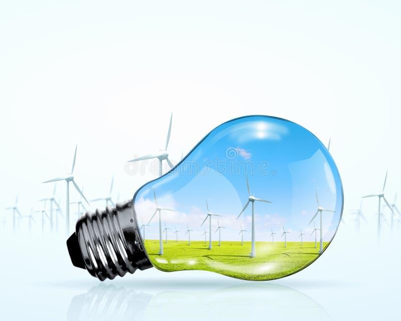 Generadores eléctricos del bulbo y del molino de viento fotos de archivo libres de regalías