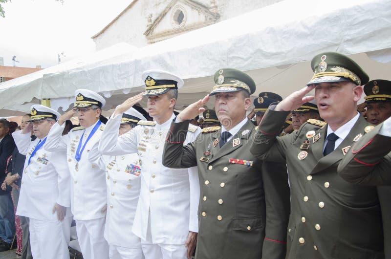 Generais de Bolivarian do venezuelano em um ato da batalha de Carabobo foto de stock royalty free