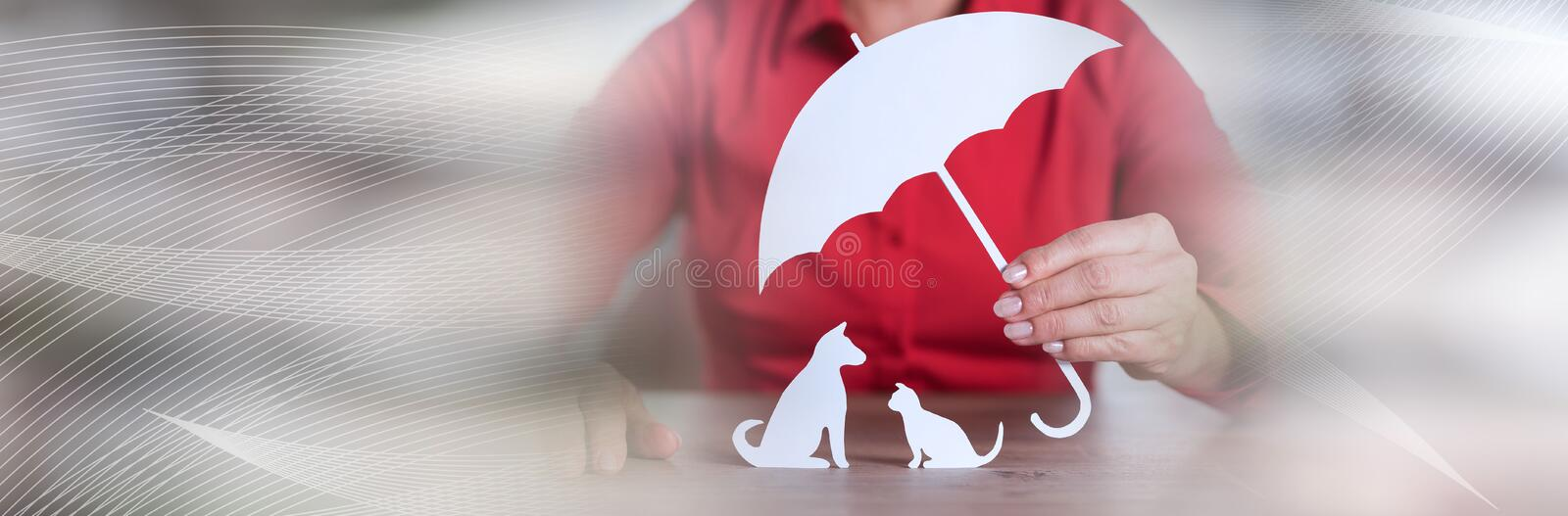 Concept of pets protection; panoramic banner. General agent protecting a pets; panoramic banner stock image