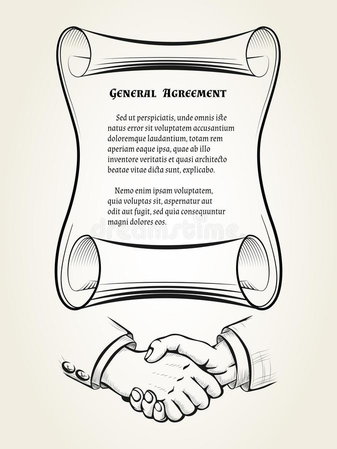 General agreement. Illustartion of roll with place for text of agreement and handshake sign drawn in retro engraving style royalty free illustration