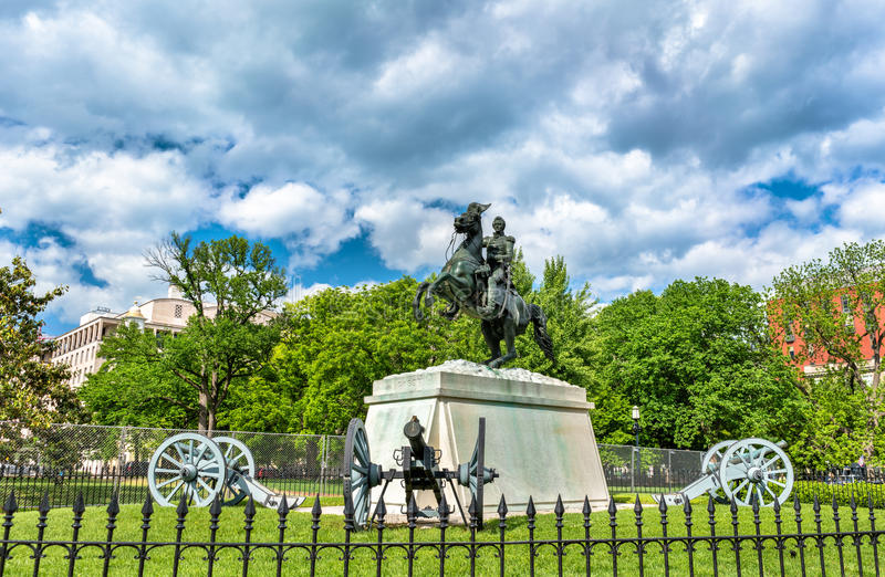 General Andrew Jackson Statue on Lafayette Square in Washington, D.C. stock photos