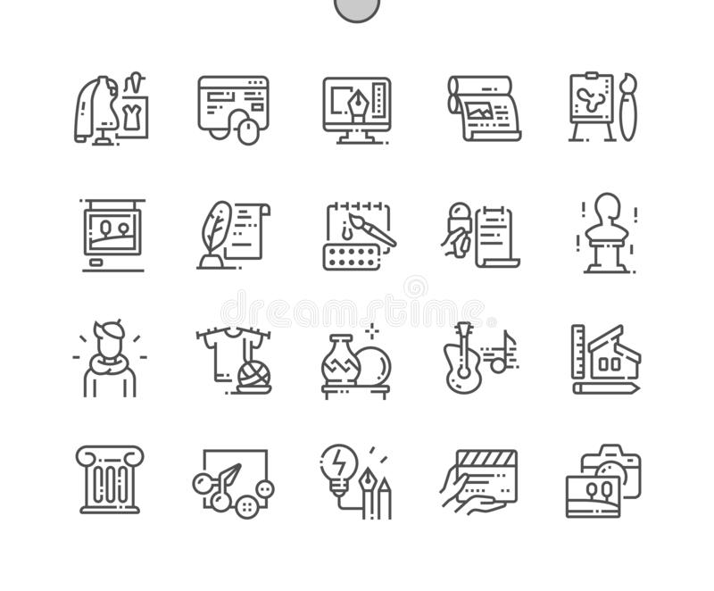 General Arts Well-crafted Vector Thin Line Icons stock image