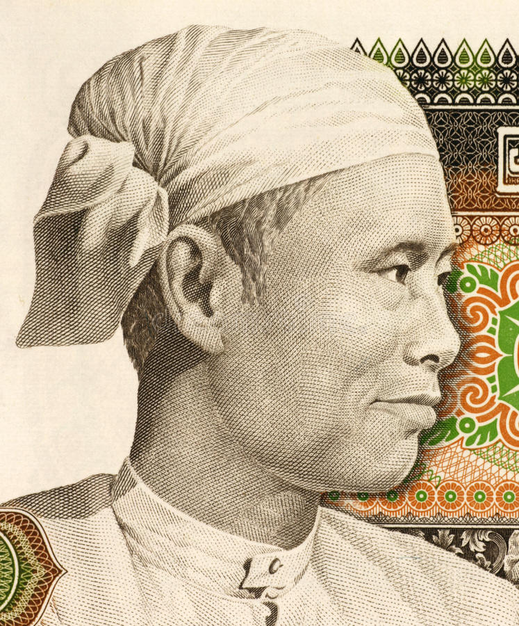 General Aung San. (1915-1947) on 75 Kyats 1985 Banknote from Burma. Burmese revolutionary, nationalist and founder of the modern Burmese army stock photos