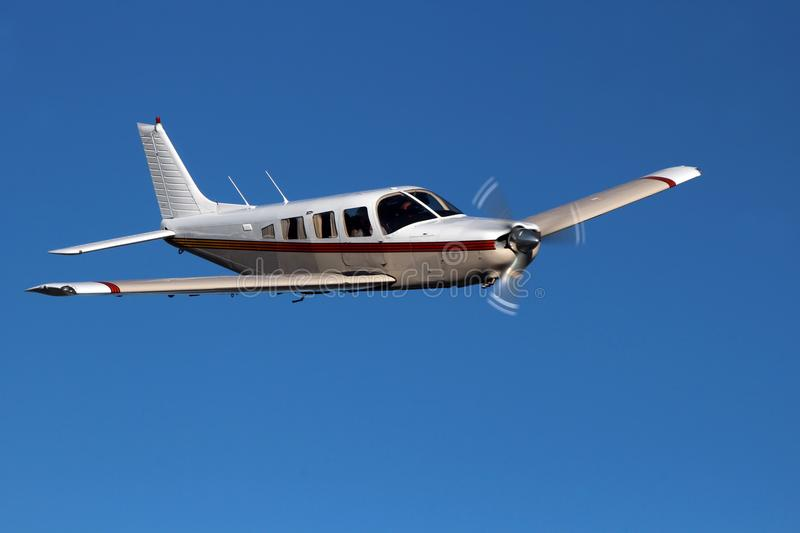 General Aviation - Piper Saratoga Aircraft. The Piper Saratoga is a six-seat, high-performance, single engine, all-metal fixed-wing aircraft. The airplane is royalty free stock image