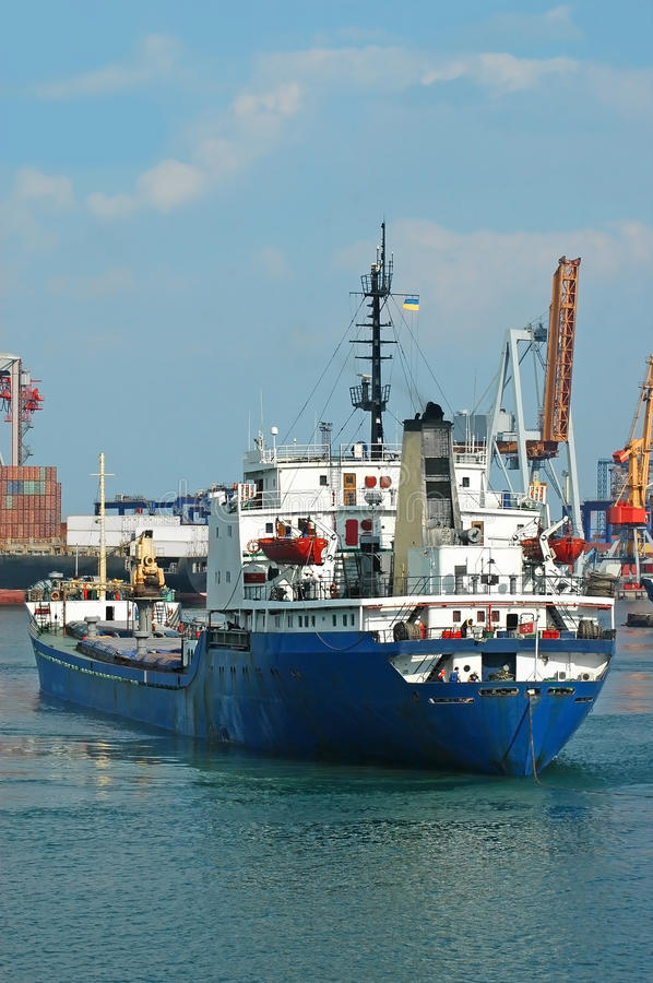 Download General Cargo Ship And Port Crane Stock Photography - Image: 32688662