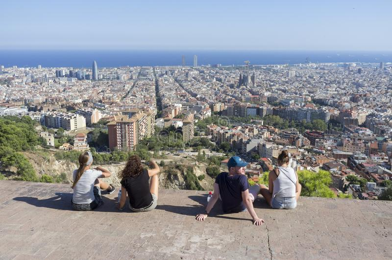 General city view from look out Turo de la Rovira hill, Barcelona. Spain royalty free stock photography