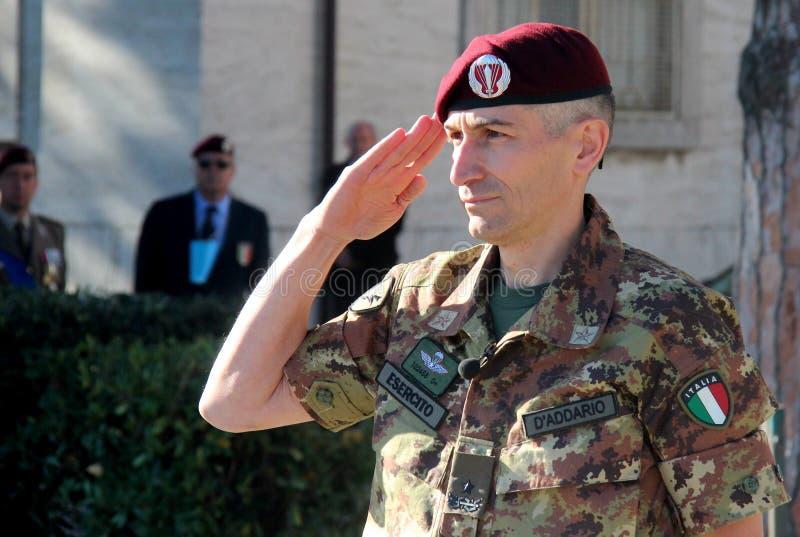 General comandante de Lorenzo D'addario de la brigada del paracaídas del folgore imagen de archivo libre de regalías