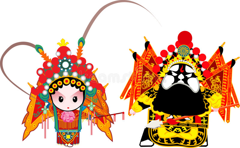 General Couple. A cartoon of two Beijing opera characters vector illustration