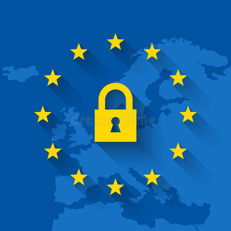 General Data Protection Regulation concept with lock and map of Europe. General Data Protection Regulation - GDPR concept with lock symbol and map of Europe. EU vector illustration
