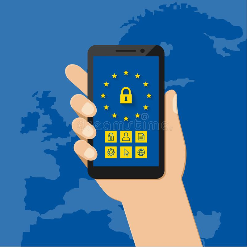 General Data Protection Regulation concept with mobile phone. General Data Protection Regulation concept with map of Europe in the background. Hand holding stock illustration