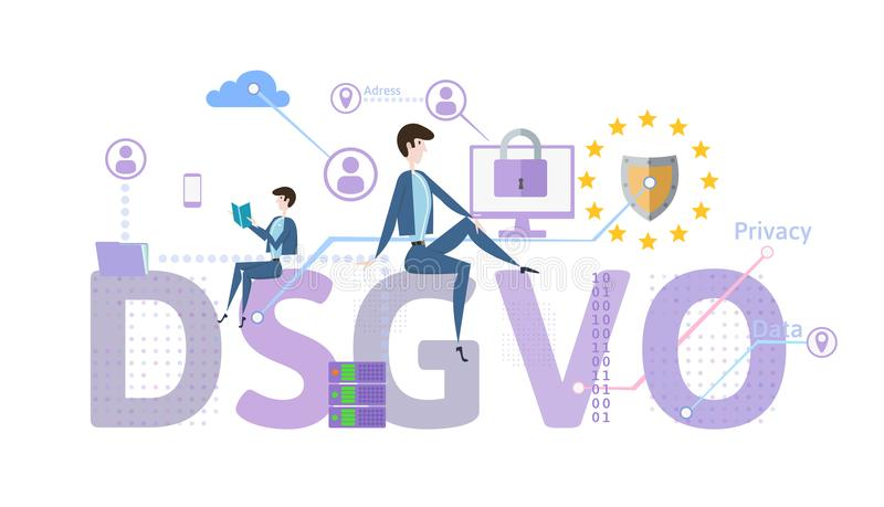 General Data Protection Regulation. GDPR, called DSGVO in German. Concept vector illustration. The protection of royalty free illustration