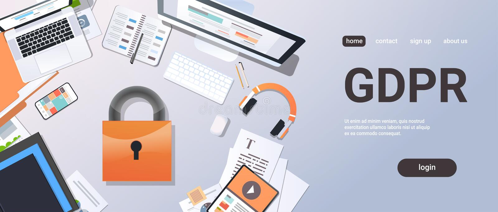 General data protection regulation GDPR concept top angle view desktop padlock privacy information safety and. Confidential office stuff horizontal copy space royalty free illustration