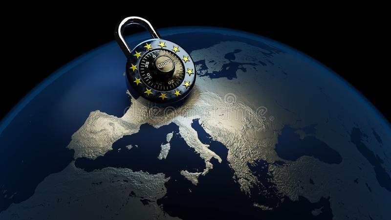 GDPR Europe Law Privacy Data Protection DSGVO. General data protection regulation, GDPR, DSGVO, law, 3D rendering, EU style padlock on stylized earth/Europe stock illustration