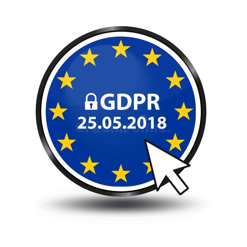 General Data Protection Regulation GDPR German Mutation: Datenschutz Grundverordnung DSGVO. Web Button With Security Lock And Mouse Arrow stock illustration