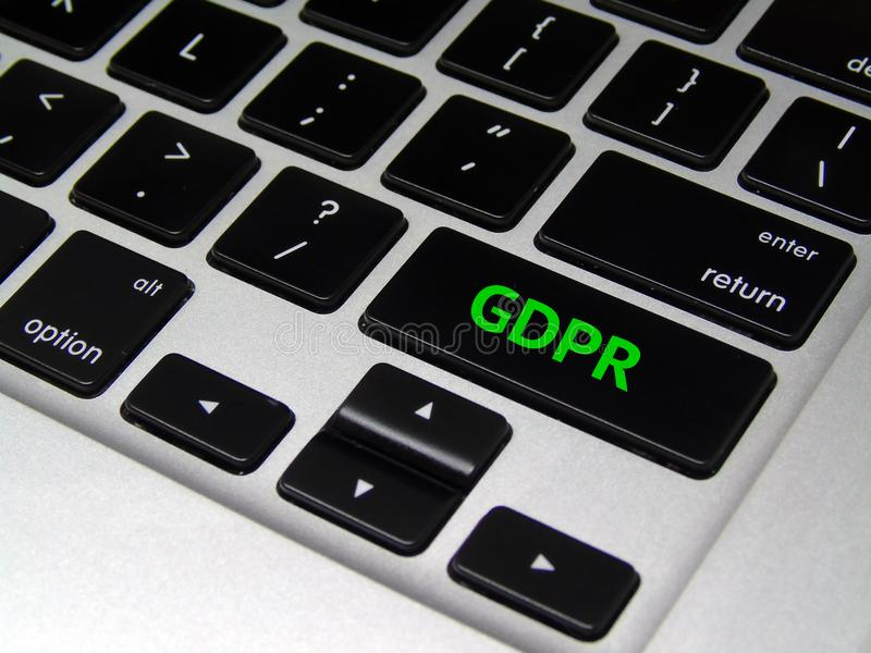 General Data Protection Regulation GDPR - Laptop Button. Closeup of laptop button with GDPR written on it royalty free stock photography