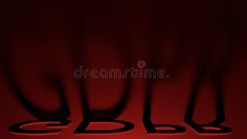 General Data Protection Regulation GDPR letter shadows with red lightning, 3D render stock image