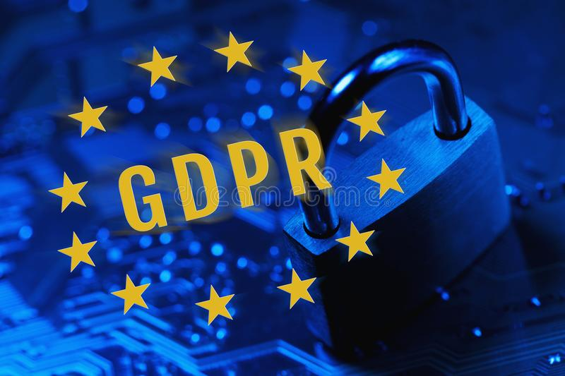 General Data Protection Regulation or GDPR. Lock on the background of the chip symbolizing the EU General Data Protection Regulation or GDPR stock photo