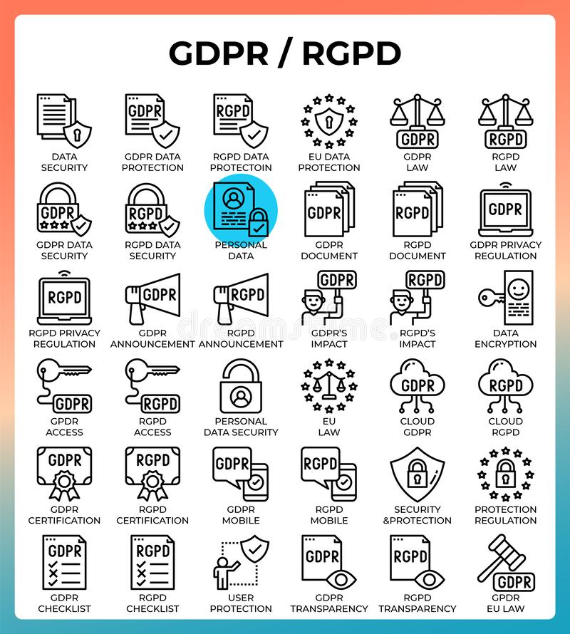 General data protection regulation GDPR/RGPD concept icons. Set in modern line icon style for ui, ux, web, mobile app design, etc stock illustration