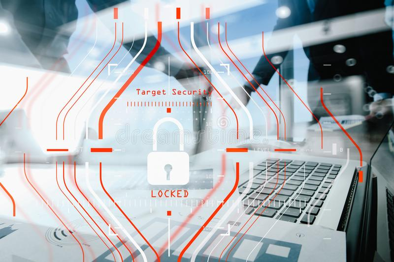 General Data Protection Regulation GDPR and Security concept.C. Omputer Halogram target protection locked with success on business finance working and technology stock images
