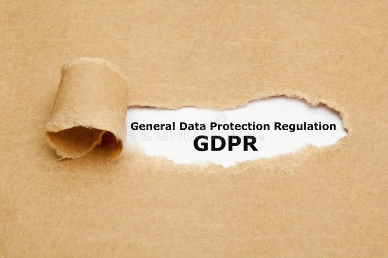 General Data Protection Regulation GDPR. Text General Data Protection Regulation GDPR appearing behind ripped brown paper royalty free stock photos