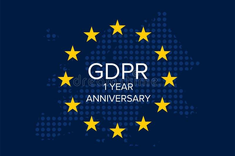General Data Protection Regulation GDPR 1 year anniversary. Illustration vector stock illustration