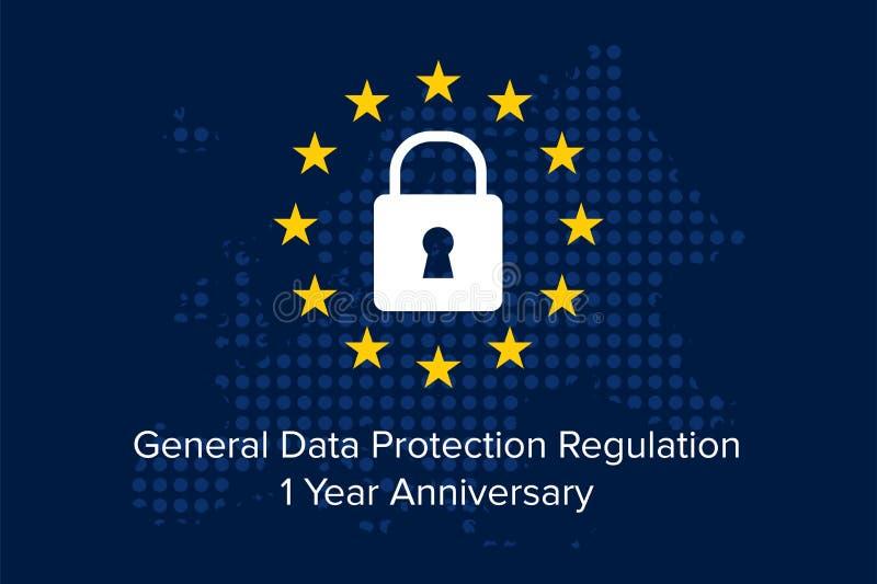 General Data Protection Regulation GDPR 1 year anniversary. Illustration vector vector illustration