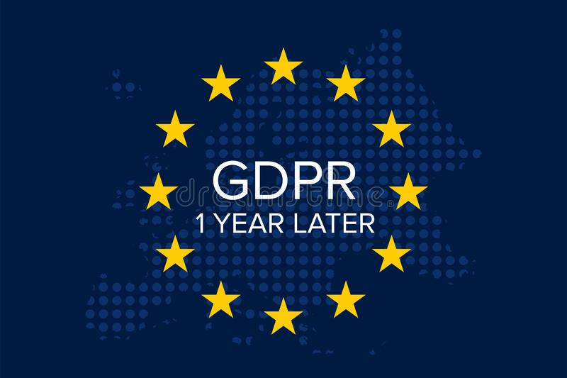 General Data Protection Regulation GDPR 1 year later. Illustration vector vector illustration