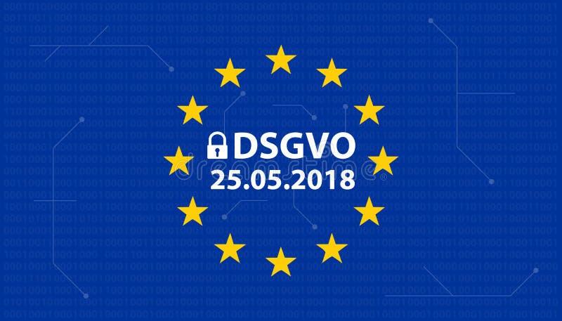 General Data Protection Regulation German Mutation: Datenschutz Grundverordnung DSGVO royalty free illustration