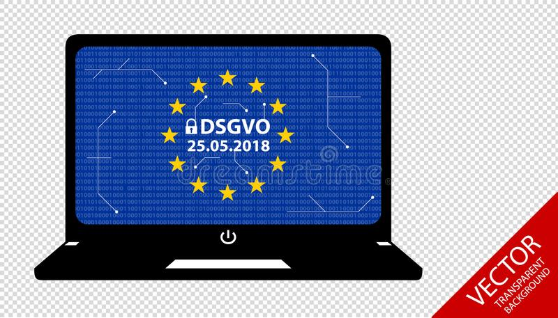 General Data Protection Regulation German Mutation: Datenschutz Grundverordnung DSGVO - Bits And Circuit Diagram On Notebook. Screen royalty free illustration