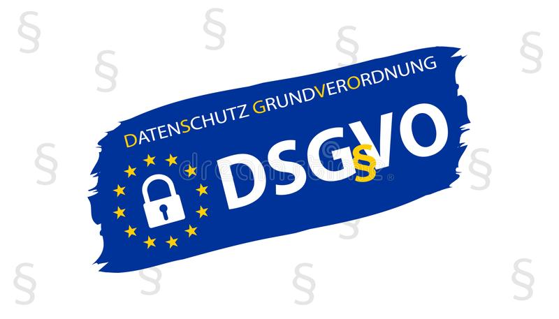 General Data Protection Regulation German Translation: Datenschutz Grundverordnung DSGVO stock illustration