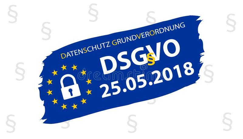 General Data Protection Regulation German Translation: Datenschutz-Grundverordnung DSGVO stock illustration