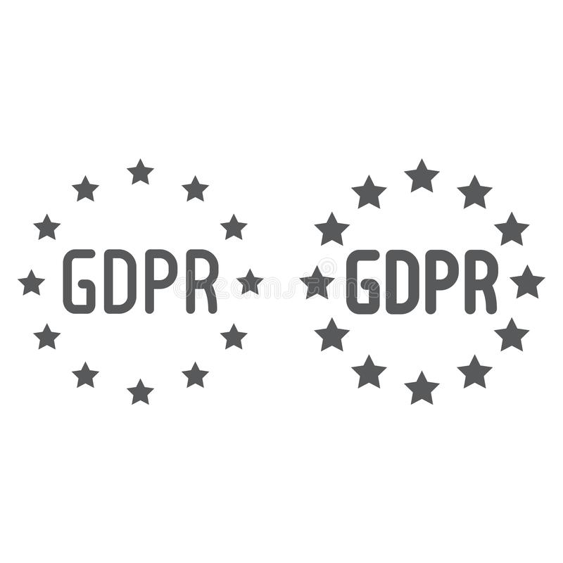 General Data Protection Regulation line and glyph icon, privacy and information, gdpr sign, vector graphics, a linear. Pattern on a white background, eps 10 royalty free illustration