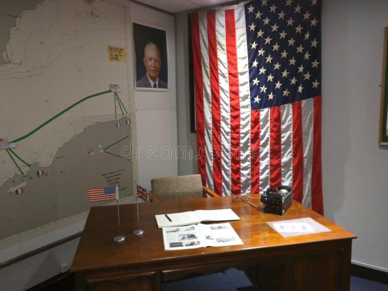 General Dwight D Eisenhower-` s Schreibtisch, Gibraltar stockbilder