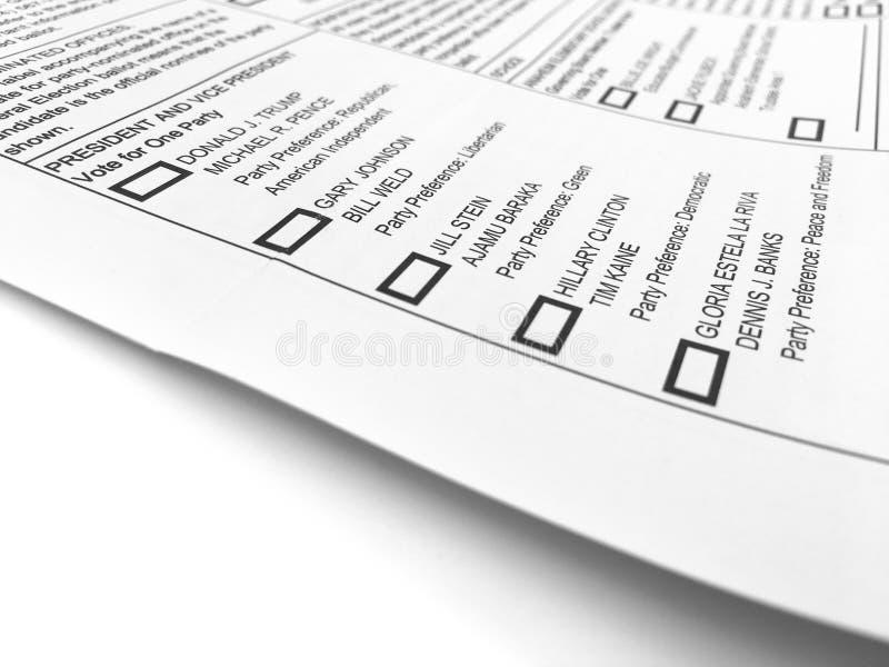 2016 General Election Ballot Form stock photos