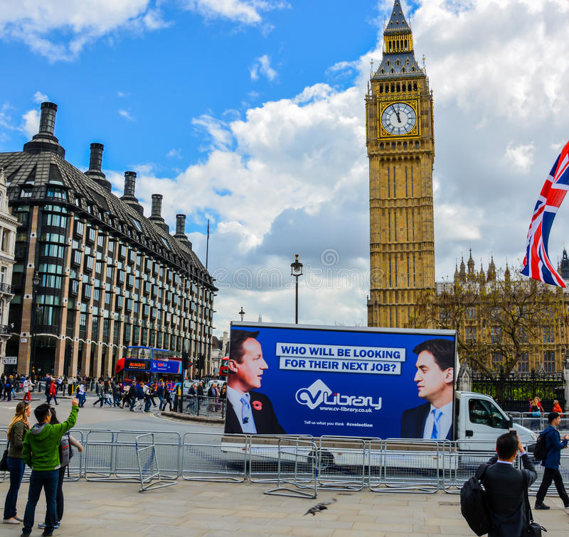 General Election Westminster. A perfectly timed picture of a mobile billboard driving by Westminster on the day the nation votes on its next prime minister royalty free stock photo
